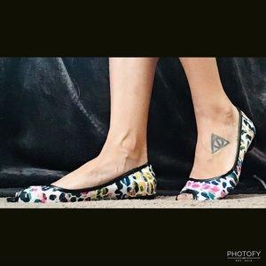 Rainbow Cheetah Peep-Toe Flats